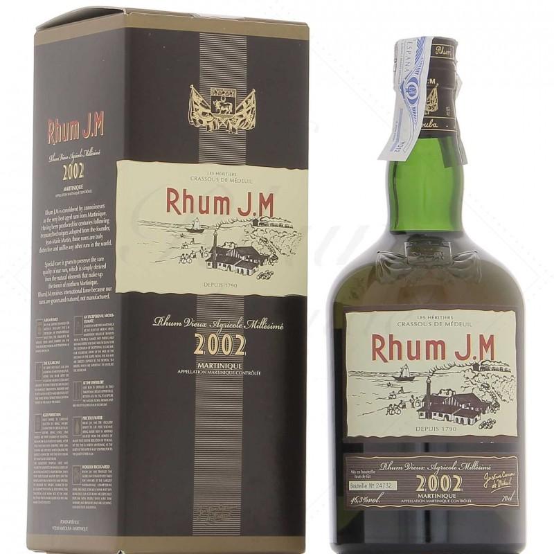 JM Rhum Millésime 2002 Rhum Hors D'Âge Rhum Vieux Agricole JM